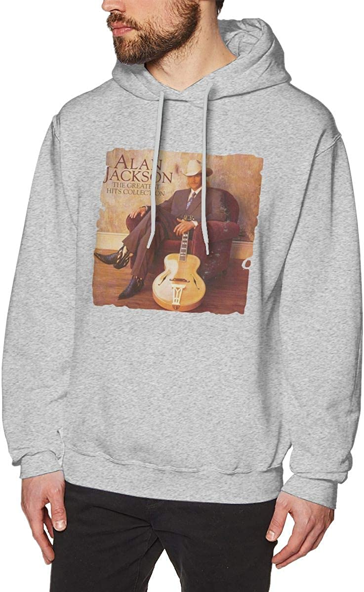 Whiteandnavy Warmth Men Alan/_Jackson-The/_Greatest/_Hits/_Collection Hoodie Gray with Mens Hoodies