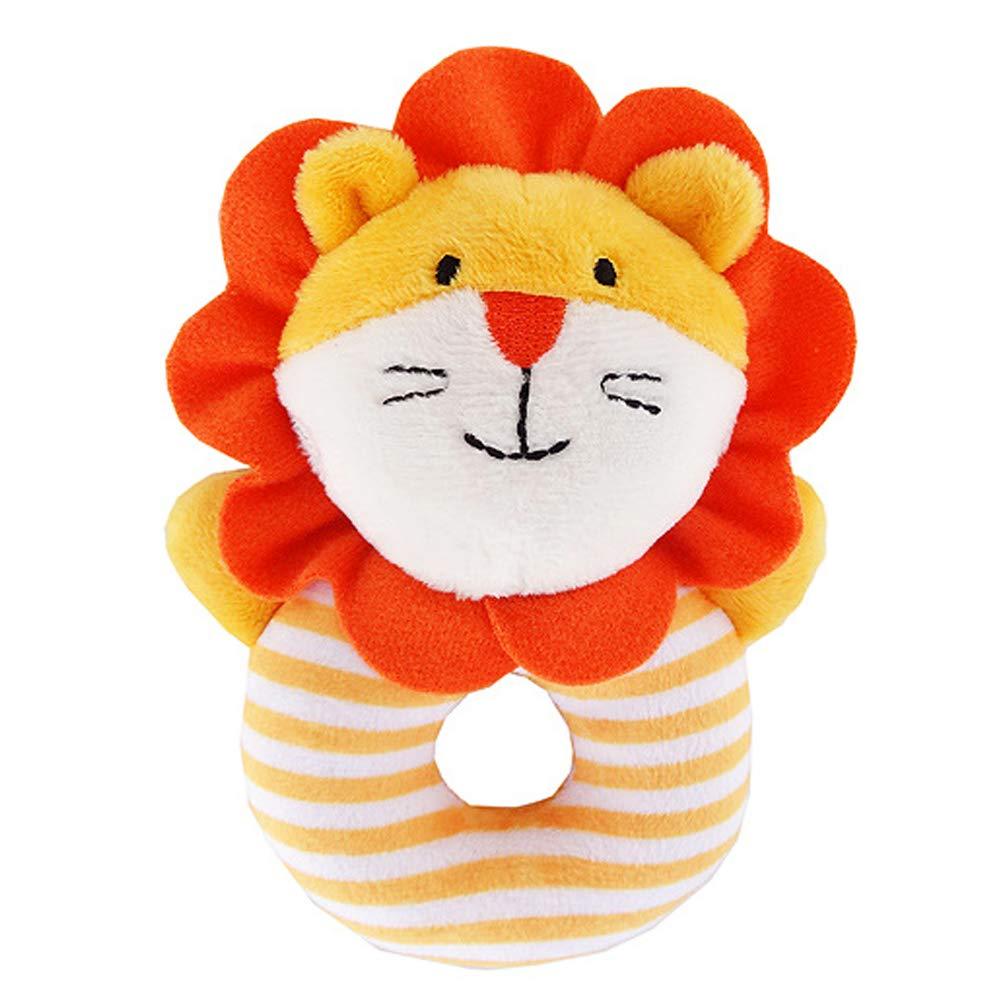 achat Baby hochet petit chien jouets handbells mignon Cartoon peluche jouets animaux pour garçon et fille de la main bébé clochette jouets cadeaux pour nourrissons, nouveau-né Lion pas cher prix
