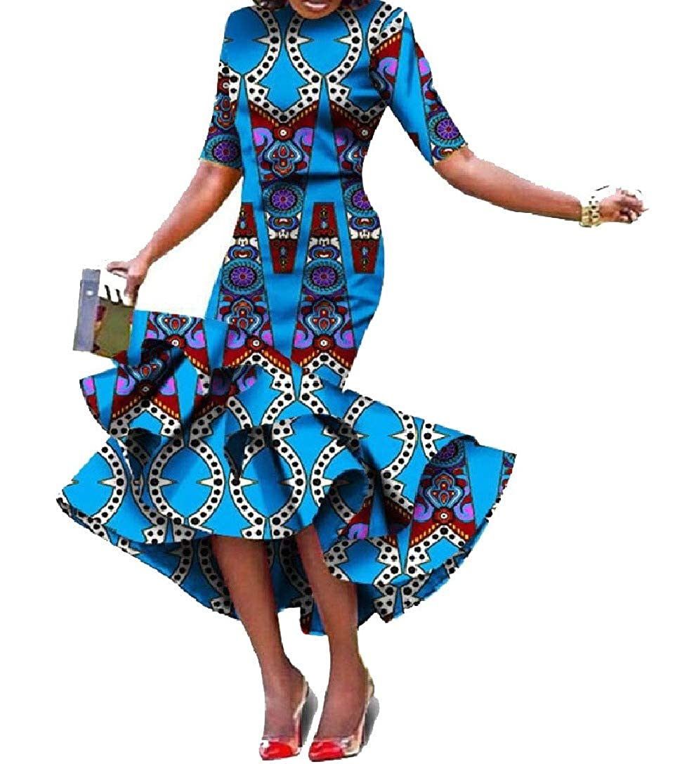 Pattern10 Winme Women Ethnic Ball Gown African Style Irregular ShortSleeve Long Dress