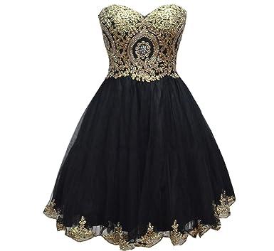 Amazon Com Lemai Tulle Little Black Short Gold Lace Corset Prom