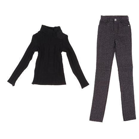 Fenteer Maglione a Collo Alto Moda Pantaloni Quadri Outfit
