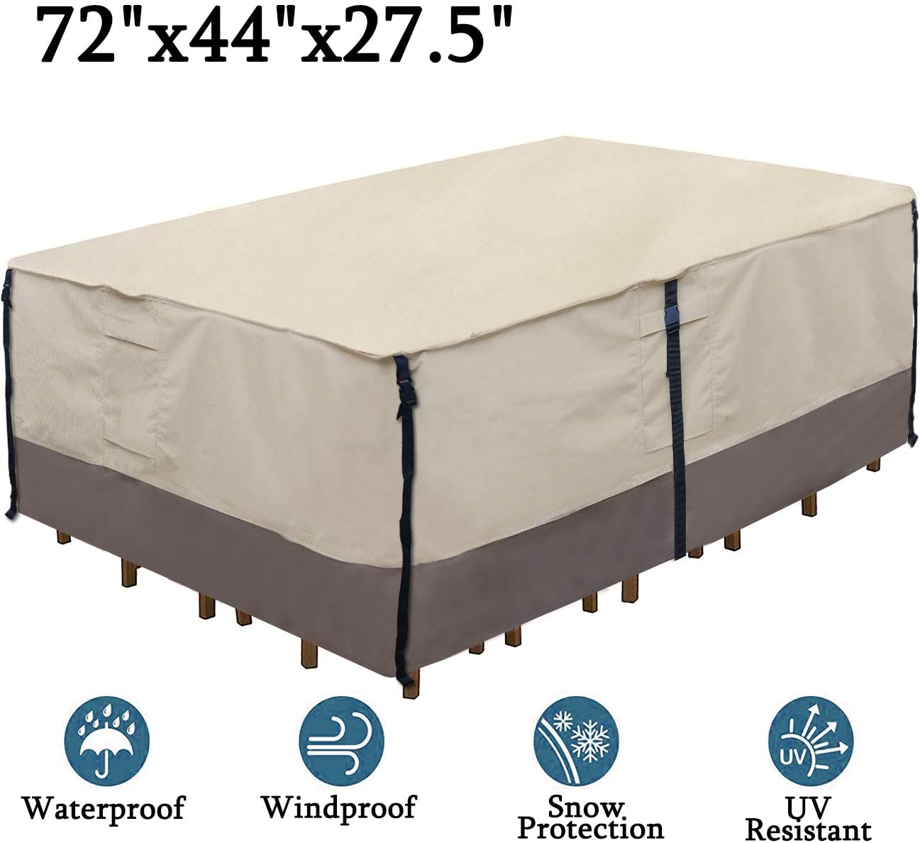 Ogrmar Heavy Duty 600D Patio Table Cover Waterproof Rectangle Patio Furniture Cover Outdoor Dining Table Chair Set Cover 72 x44 x27.5