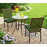 3pc Patio Set Conversation 2 Seats Chairs & Circular Table Outdoor Patio Lawn Porch Backyard Weatherproof Waterproof Bistro Brown and Green & eBook by Easy&FunDeals