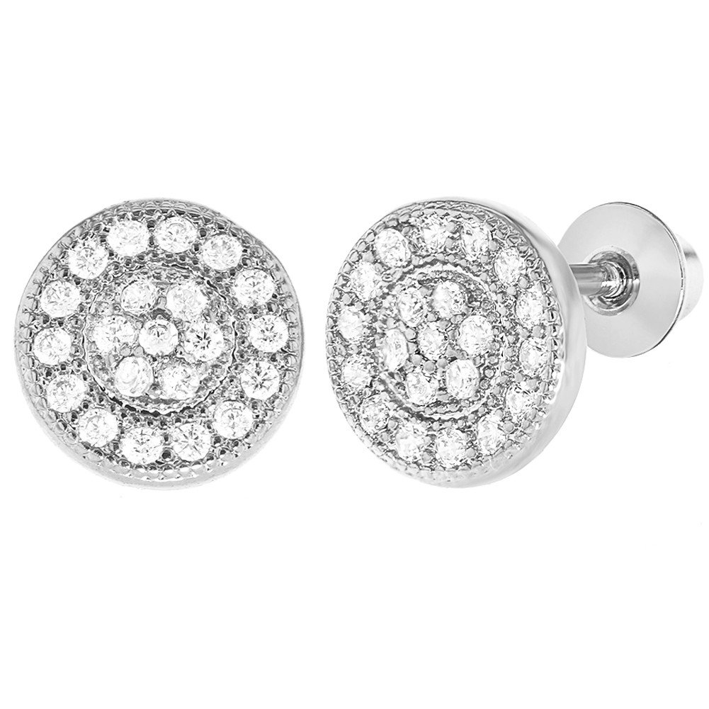 Rhodium Plated Micro Pave Clear Crystal Baby Girl Screw Back Earrings 7mm 03-0407