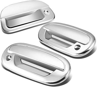99-06 GMC Sierra Chrome Mirror+2 Door Handle w//Passenger Keyhole+Tailgate Cover