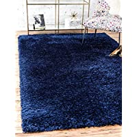 Modern Solid Plush 8 feet by 10 feet (8 x 10) Marilyn Monroe (tm) Shag Blue Jeane Contemporary Area Rug