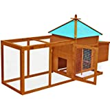 Chicken Cage Patio Outdoor Pet Animal Coop House Wood Brown with Door with Tray & Ebook by ATS