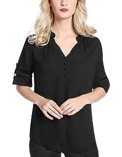 ce7c26ece Mavis Laven Women's Henley V Neck Tunics Shirt 3/4 Sleeve Pleated ...