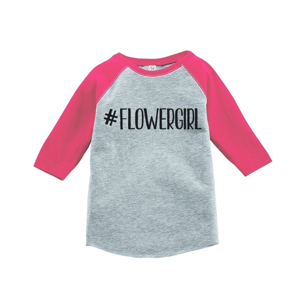 7 ate 9 Apparel Baby Girl's Hashtag Flower Girl Wedding Raglan Tee SM Pink