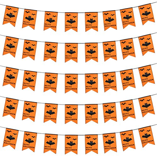 Halloween Party Decoration Banner Garland Dual-Layer Flag with ''Happy Halloween'' (Bat) (Homemade Outdoor Halloween Decorations Pinterest)