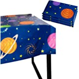 Outer Space Party Tablecloth - 3-Pack Disposable Plastic Rectangular Table Covers - Solar Planet Themed Party Supplies for Ki