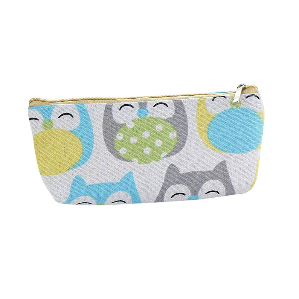 Cartoon Pencil Case Canvas Large Storage Organizer Bag Cosmetic Makeup Bag Schools Offices Stationery for Kids Students (C)