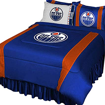Attractive NHL Edmonton Oilers Full Bedding Set Hockey Logo Bed