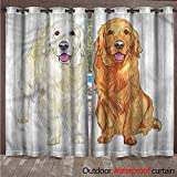 cobeDecor Golden Retriever Outdoor Curtain for Patio Smiling Dogs W72 x L96