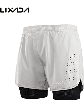 a876674c451e5f Lixada Mens 2-in-1 Running Shorts Quick Drying Breathable Active Training  Exercise Jogging