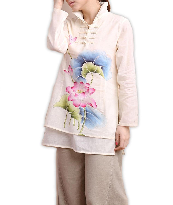 100% Handmade Pure Cotton Blouse Shirt Top - Oriental Chinese Hand Paint Art # 115