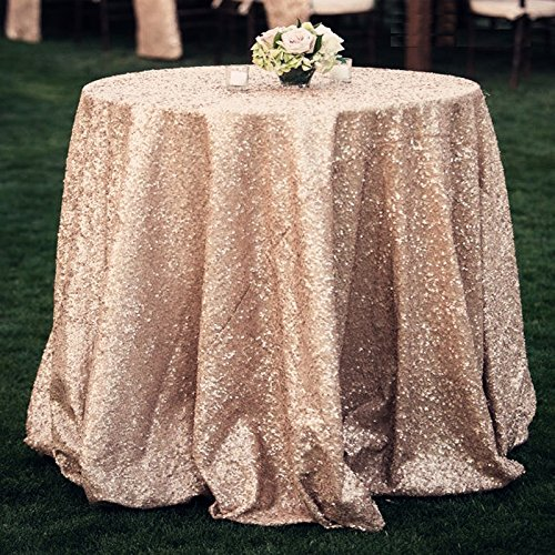 ShinyBeauty-Round Sequin Tablecloth-Champagne-70Inch, Sparkly Sequin Overlay Sequin Table Cover Perfect for Birthday Wedding Party Event by ShinyBeauty