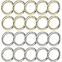 Sweieoni 20 STKS Ronde Lente Ring Sleutel, RVS O Ring Ronde Lente Poort Karabijnhaak, voor Sleutelhangers, Ambachten Of…