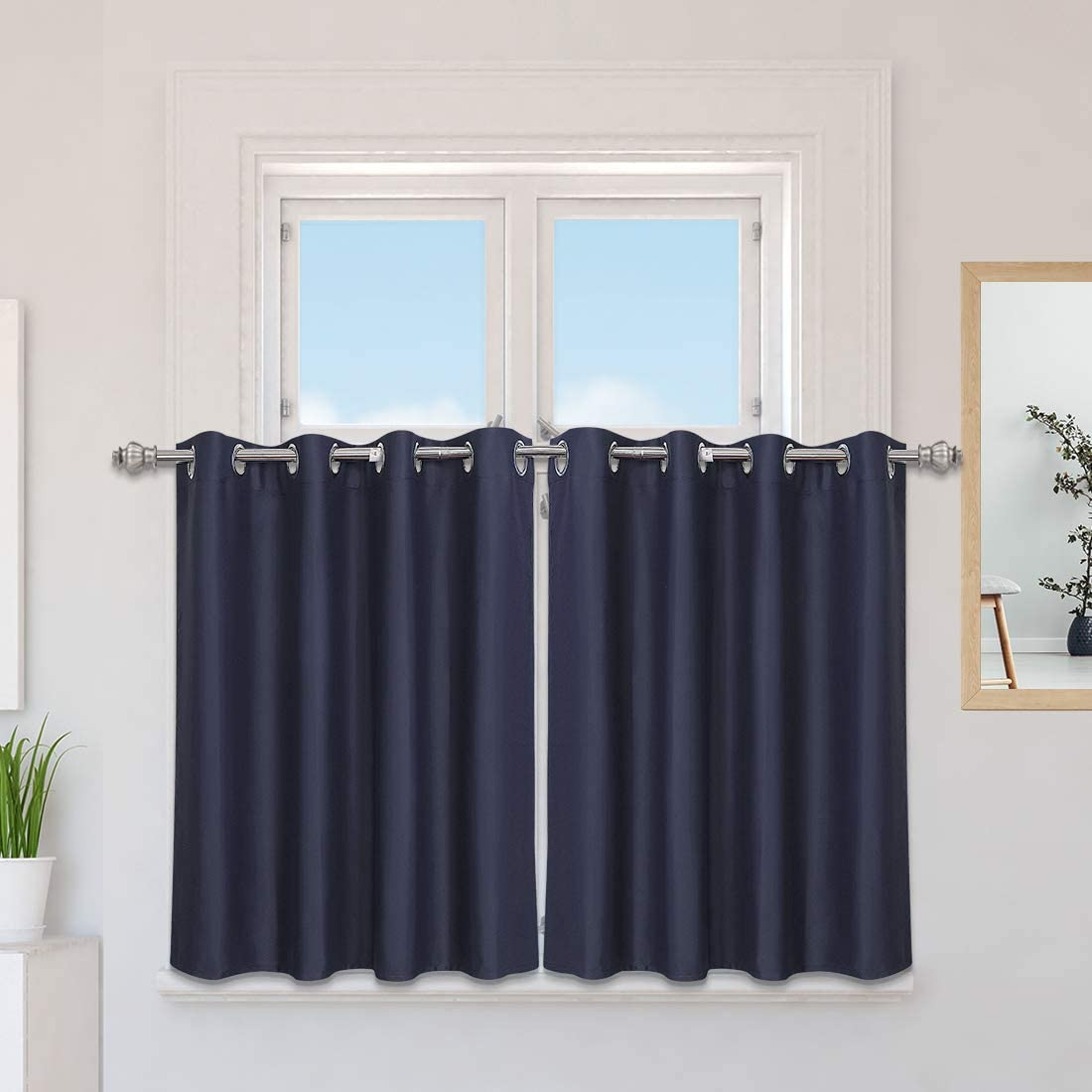 PiccoCasa Small Window Curtain Panel Rod Pocket Valance Solid Thermal Insulated Curtain Tier Drape Short Kitchen Curtains, 2 Panels Navy Blue 52 x 36 Inch