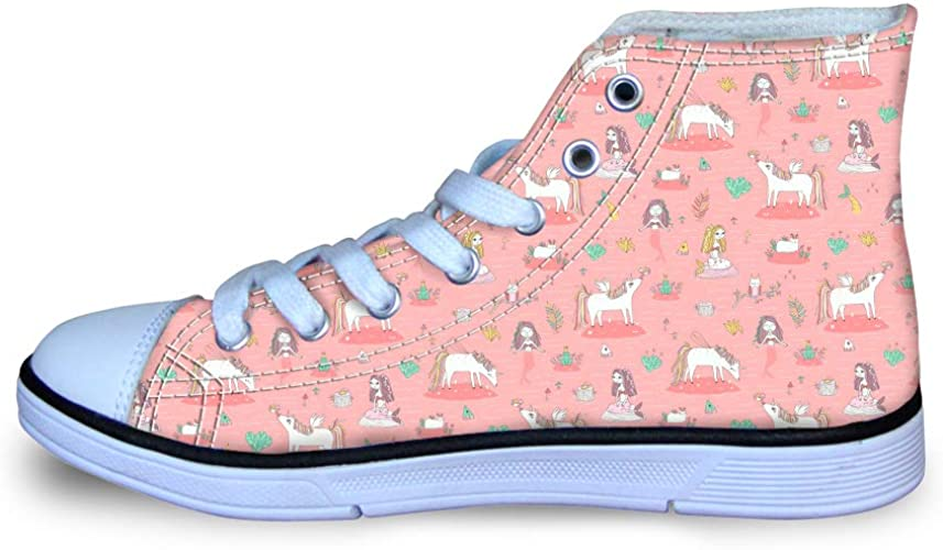 Canvas High Top Sneaker Casual Skate Shoe Boys Girls Unicorn Mermaid Frog Prince