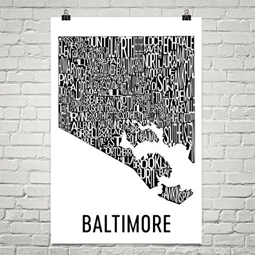 Modern Map Art Baltimore Typography Neighborhood Map Art City Print, Baltimore Wall Art, Baltimore Art Poster, Gift, Map of Baltimore, Maryland Poster ()