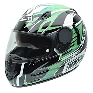 NZI 010264G763 Premium S Graphics SV Green Arrows Casco de Moto, Blanco, Negro y