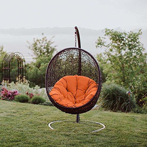 Modway EEI-739-ORA-SET Encase Wicker Rattan Outdoor Patio Balcony Porch Lounge Egg Swing Chair Set with Stand Orange