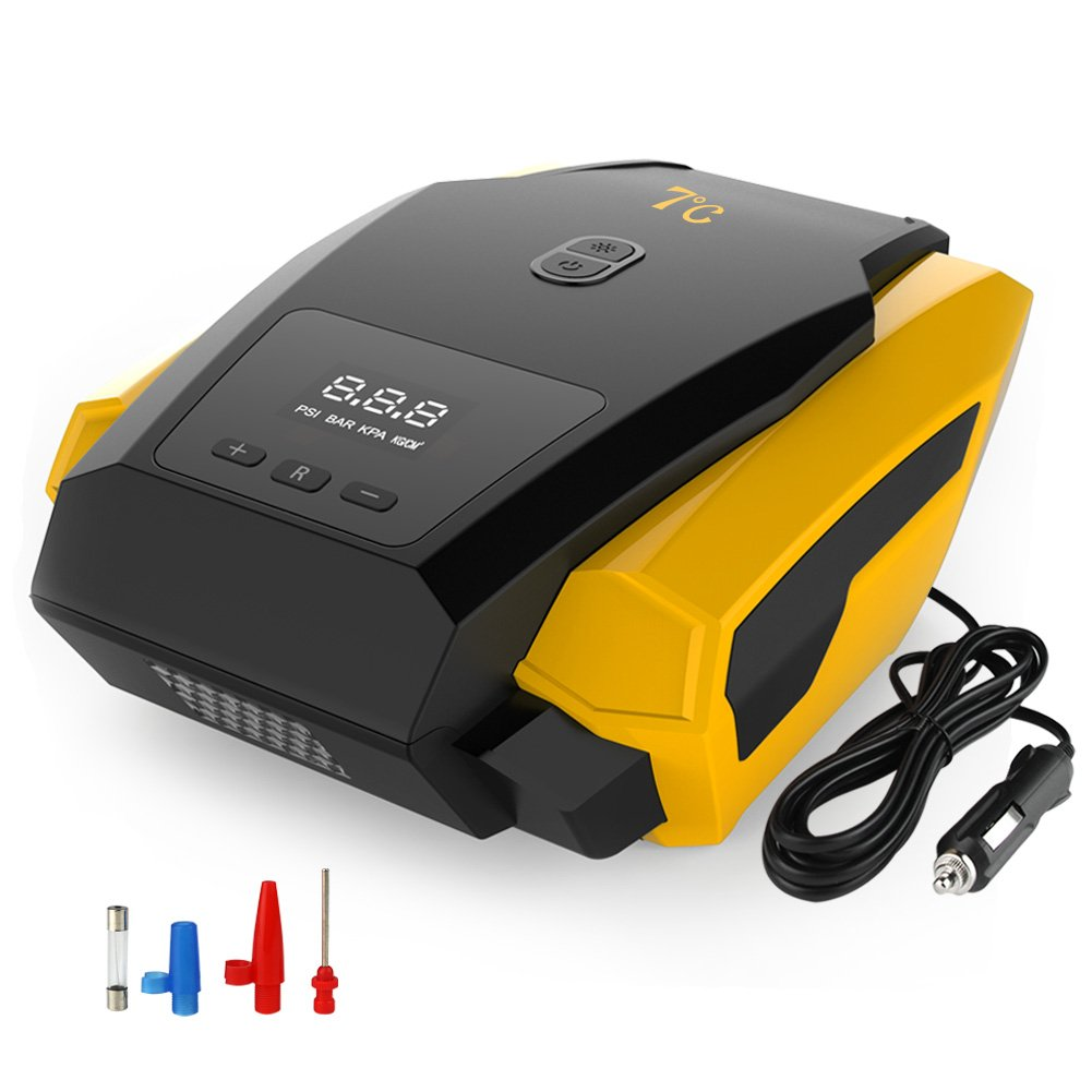 7? Portable Tire Inflator Pump, 12V Auto Digital Electric Emergency Air Compressor Pump for Car, Truck, SUV, Basketballs and Other Inflatables