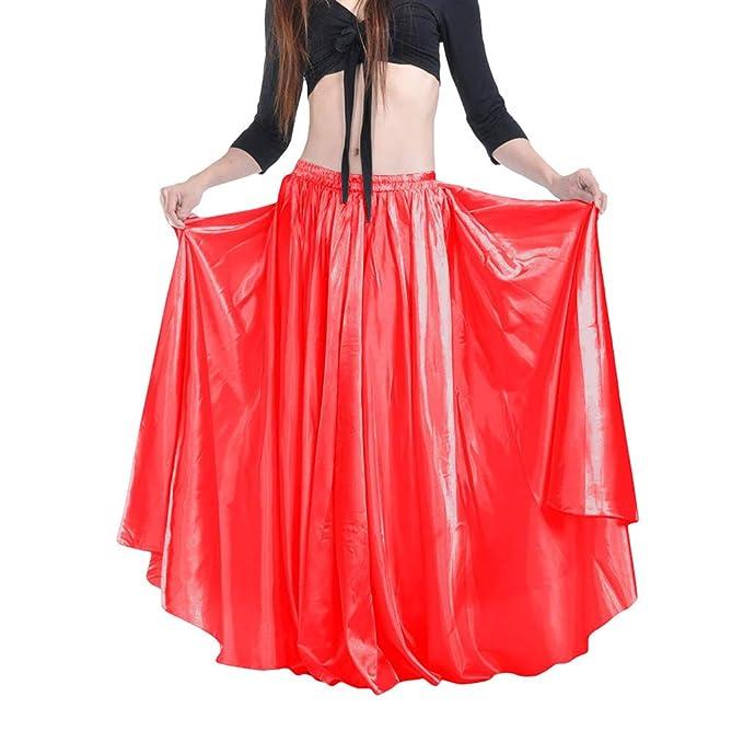 hibote Falda de Satén Shining Belly Dance para Mujer Big ...