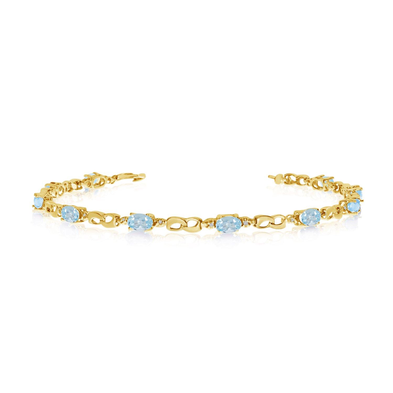 10K Yellow Gold Oval Aquamarine and Diamond Link Bracelet