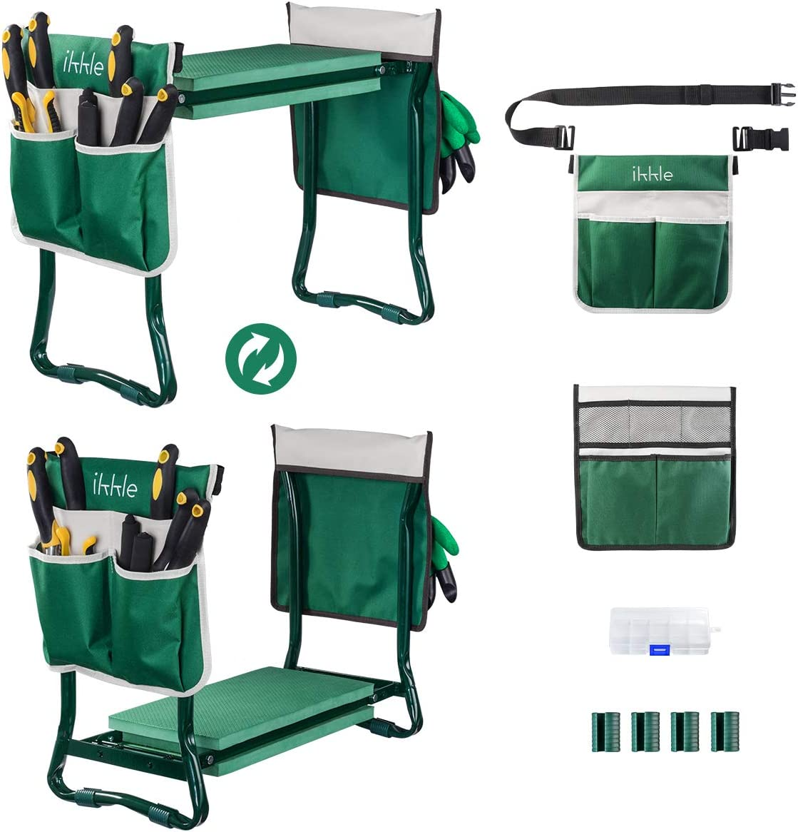 Garden Kneeler and Seat, Upgraded Folding Garden Bench Stool Portable Garden Kneeler Sturdy Gardening Tools with 2 Free Tool Pouch, Detachable Belt, EVA Kneeling Pad, Ideal Gardening Gift