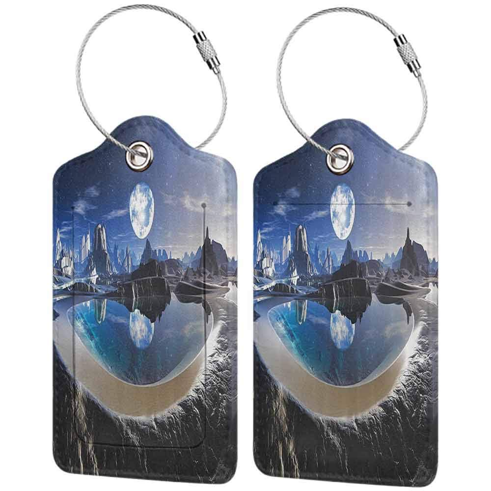 Flexible luggage tag Fantasy House Decor Collection Reflection of Earth in Crystal Pool Alien Planet Fantasy Panoramic View Fashion match Navy White Black W2.7 x L4.6