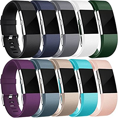 Wepro Fitbit Charge 2 Bands, Replacement for Fitbit Charge 2 HR, Buckle, 10-Pack Bands, Large, Small