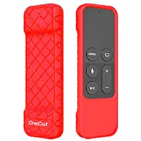 OneCut Protective Case for Apple TV 4K/4th Gen Remote, Anti Slip & Shock Proof Skin, Lightweight Soft Silicone Cover for Apple TV 4K Siri Remote Controller (Red)