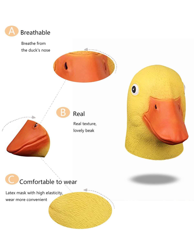 Halloween Nouveaut/é Deluxe Animal Head Mask Jaune Masque de t/ête de Canard Latex Masque de Canard Jaune Mignon pour Le Jeu de Costume