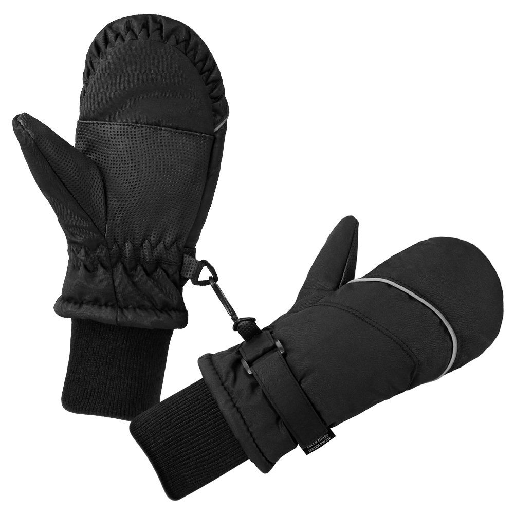 Terra Hiker Children's Ski Mittens, Water-Resistant & Windproof, Breathable Ripstop Fabric (Black) TH0118