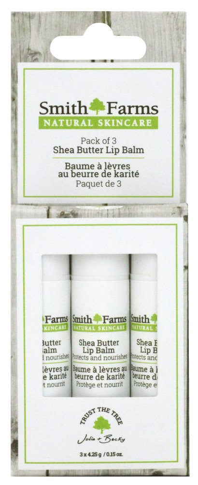 Smith Farms 3 Pack Of Ultra Nourishing, All Natural Shea Butter Lip Balm, 0.15 Ounces Smith Farms Skincare
