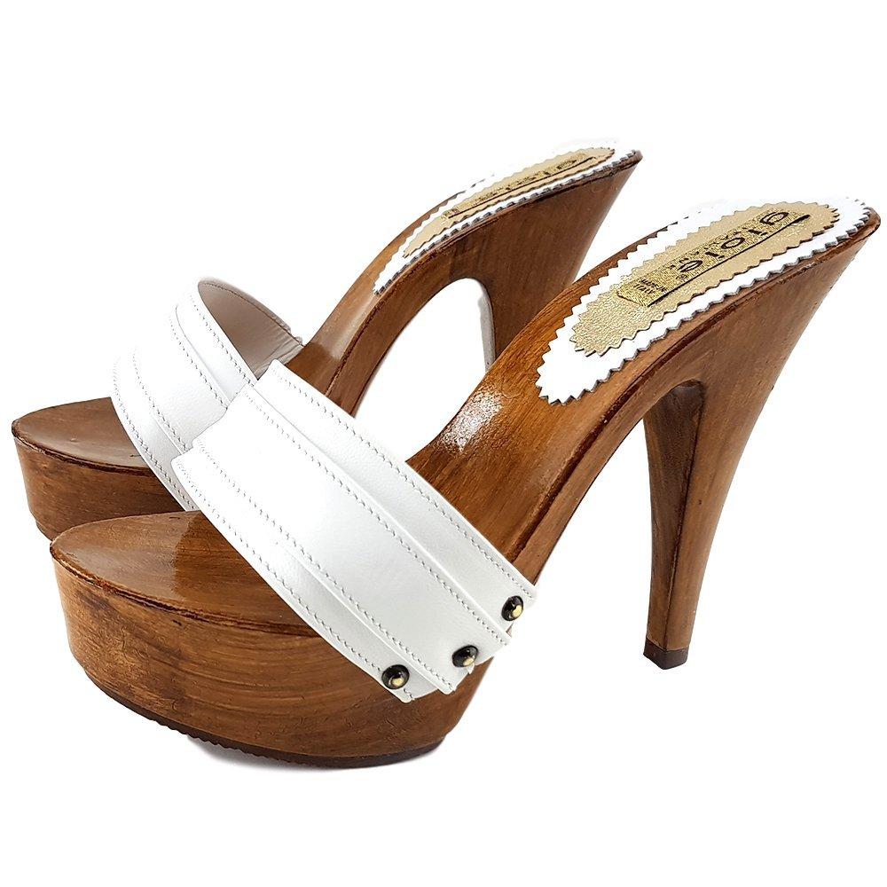 kiara shoes Zueco Cuero Talón 13 cm-910 42 EU|BLANCO