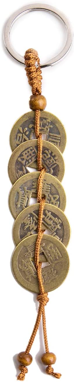 GJMY Chinese Feng Shui Coins for Wealth and Success with Key Chain