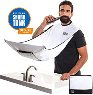 Beard Bib - Official BEARD KING Beard Catcher - Mens Grooming Cape for Shaping and Trimming - One Size Fits All - Static and Stick Free Fabric - White - Deluxe