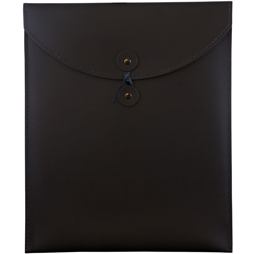JAM PAPER Leather Portfolio Open End Envelope with Button & String - 9 1/2 x 12 1/2 - Black - Sold Individually