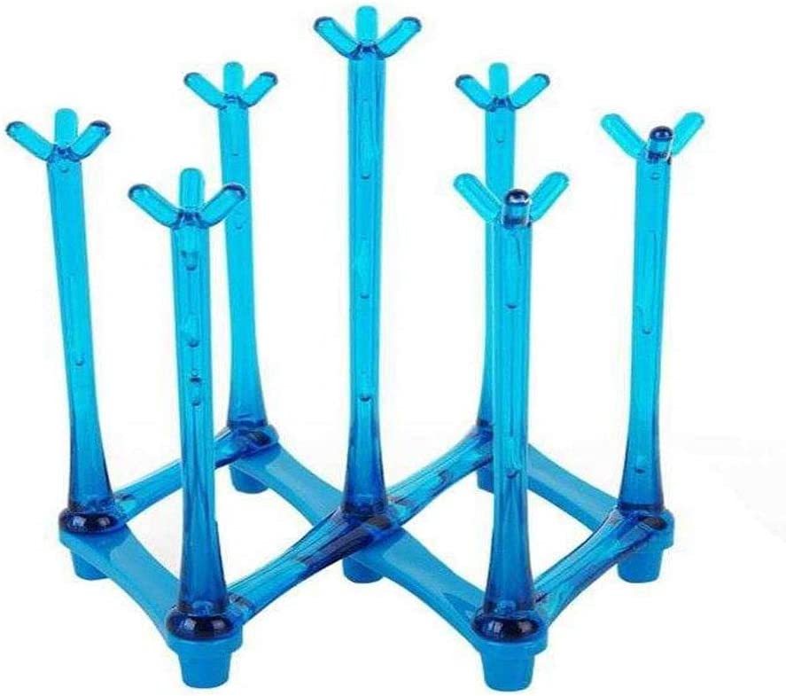 Blue Plastic Bag Dryer and Mug Tree with Non-Slip Bottom for Kitchen Countertop Drinking Glass and Sports Bottle Drainer Stand PEI Retractable Cup Drying Rack