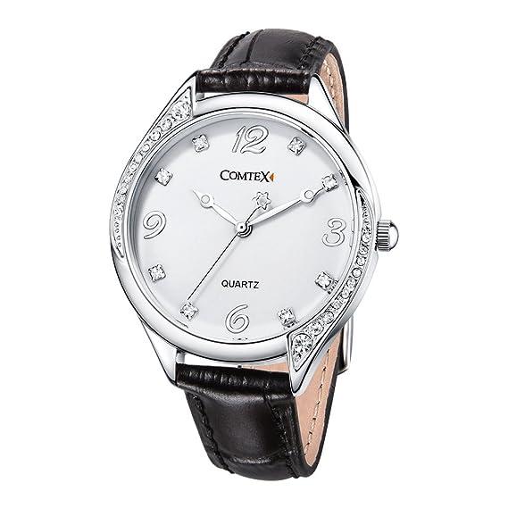 Comtex Relojes Mujer Elegantes con Correa de Cuero Negro Análogo Cuarzo Resistente Agua: COMTEX: Amazon.es: Relojes