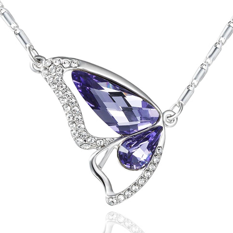 NEOGLORY Collar de Mariposa con Cristales SWAROVSKI MORADO Joya Original Regalo Mujer