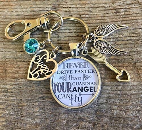 (Sweet 16 key chain, Never drive faster than guardian angel can fly, birthday gift, 16th birthday gift for HER, aquamarine, daughter gift, niece gift, granddaughter gift,)