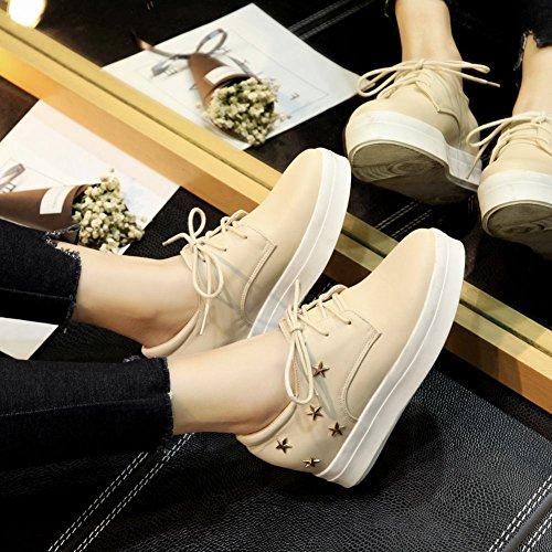 Plate-forme Étoilée Latasa Femme À Lintérieur Bas Wedges Chaussures Oxford Beige