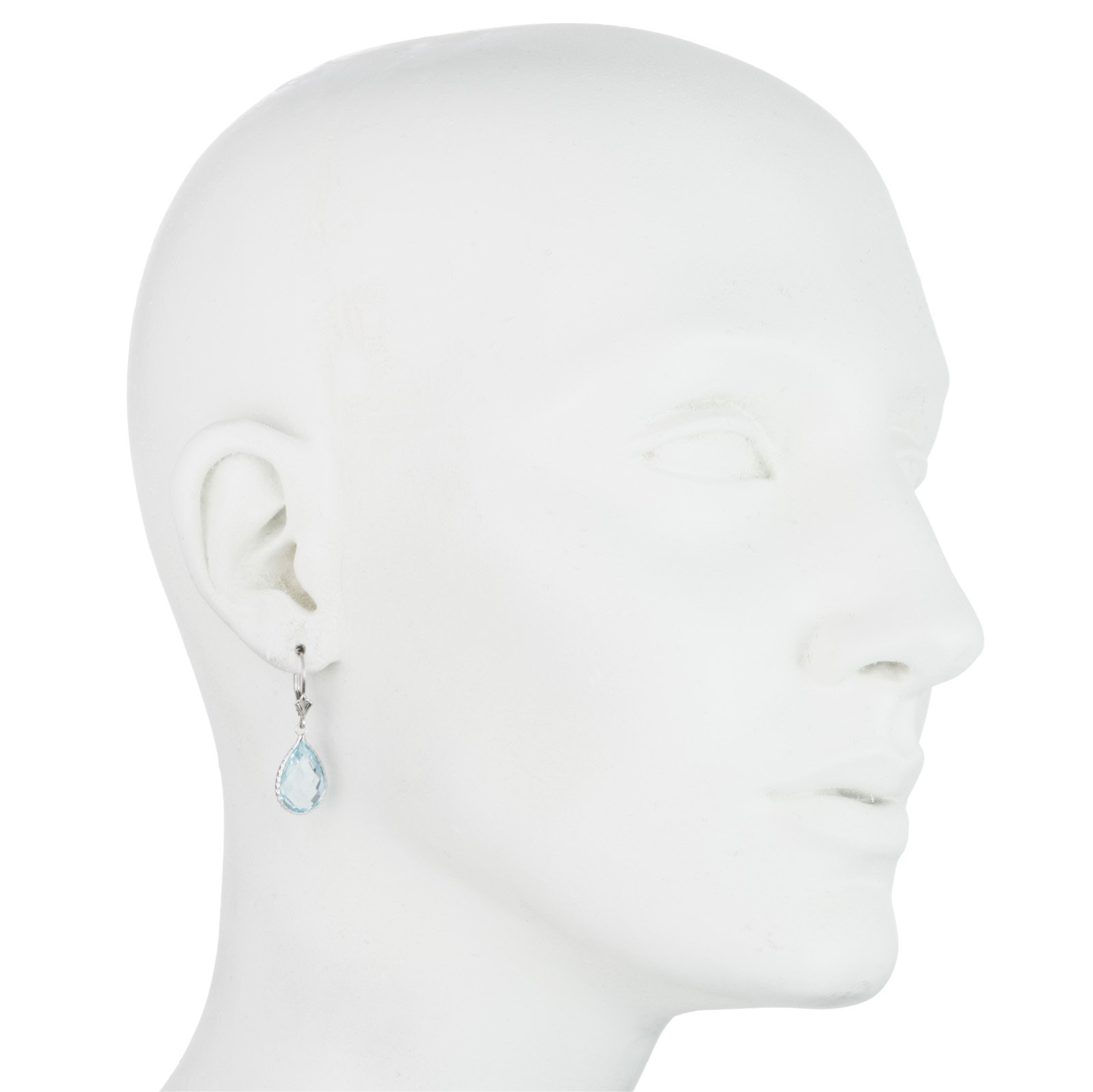 Sterling Silver Genuine Blue topaz Stone Earring, Lever Back Closure, Pear shape, Bezel wired by Glad Gold (Image #1)
