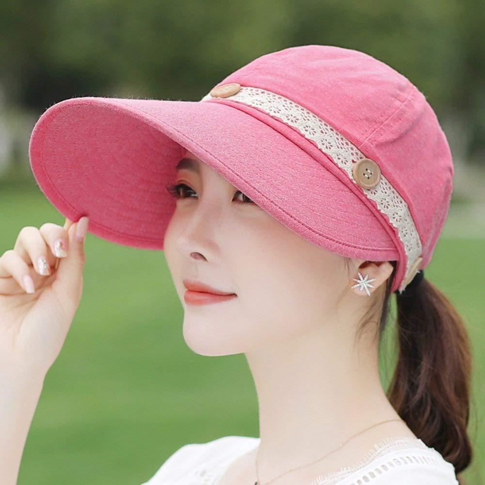 E  The taste of home Chapeau d'été, Chapeau de Soleil détachable Pliant Velcro Ajustable portable UV Preuve grand Loisirs détachable, Chapeau d'été Disponible