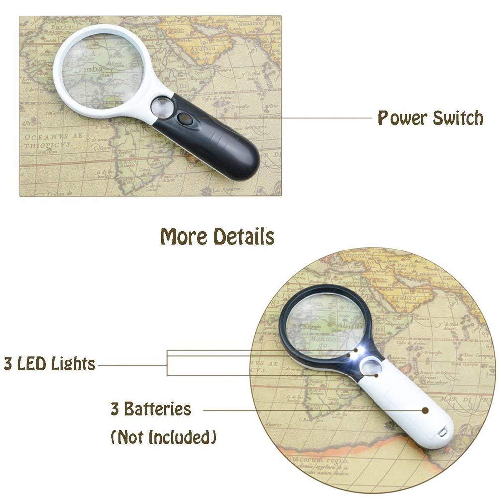 3 LED-Licht 3X 15X Leselupe Handlupe Lesevergrößerungsglas Objektiv Schmuck-bewertung Lupe für Bücher, Zeitungen, Landkarten, Münzen, Schmuck, Hobbies
