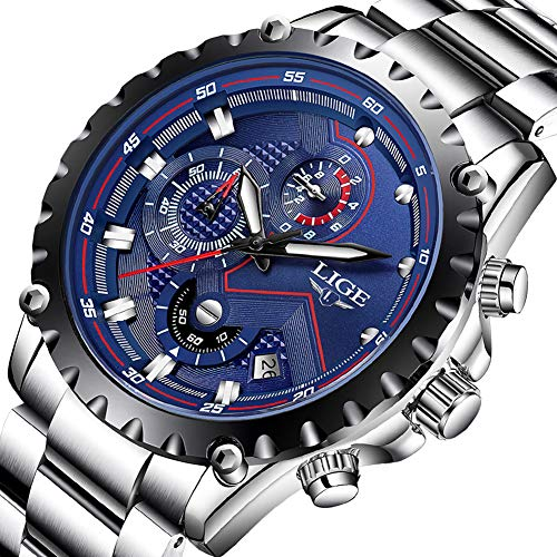 Fashion Men Watches Stainless Steel Waterproof 30M Quartz Watch Sport Casual Multifunctional Chronograph Watch for Man Blue
